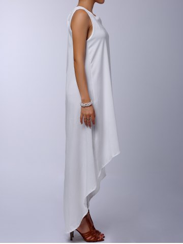 New Stylish Round Collar Sleeveless Solid Color Asymmetrical Women's Dress - S WHITE Mobile