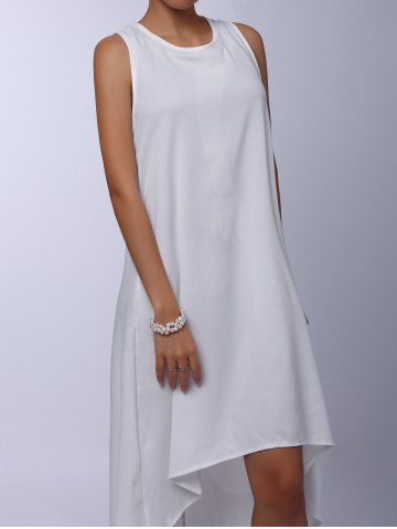 Cheap Stylish Round Collar Sleeveless Solid Color Asymmetrical Women's Dress - S WHITE Mobile