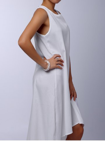 Online Stylish Round Collar Sleeveless Solid Color Asymmetrical Women's Dress - M WHITE Mobile