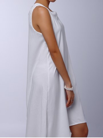 Latest Stylish Round Collar Sleeveless Solid Color Asymmetrical Women's Dress - M WHITE Mobile