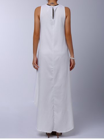 Cheap Stylish Round Collar Sleeveless Solid Color Asymmetrical Women's Dress - M WHITE Mobile