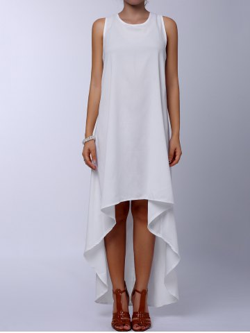 New Stylish Round Collar Sleeveless Solid Color Asymmetrical Women's Dress WHITE M
