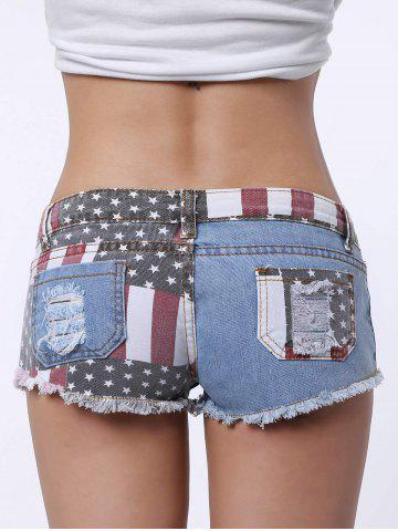 Outfit Low-Waisted Striped Star American Flag Denim Micro Shorts - S BLUE AND RED Mobile