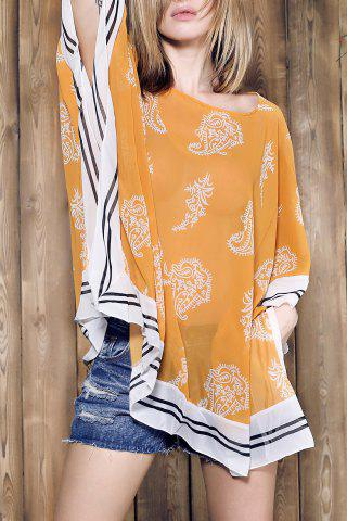 Store Stylish V-Neck 3/4 Sleeve Loose-Fitting Chiffon Cover-Up For Women