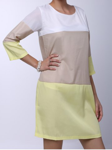 Hot Casual Round Neck 3/4 Sleeve Color Block Loose-Fitting Women's Dress - S YELLOW Mobile