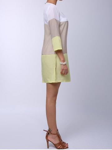 Fashion Casual Round Neck 3/4 Sleeve Color Block Loose-Fitting Women's Dress - S YELLOW Mobile