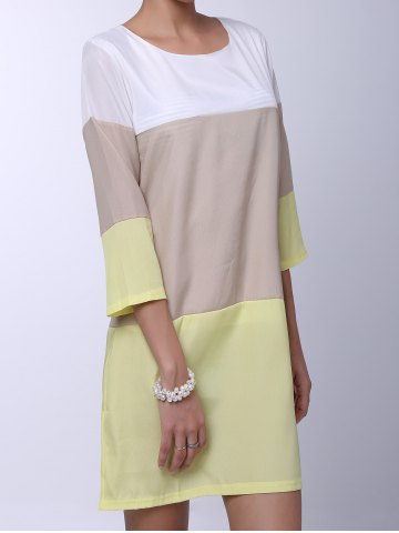 Buy Casual Round Neck 3/4 Sleeve Color Block Loose-Fitting Women's Dress - S YELLOW Mobile