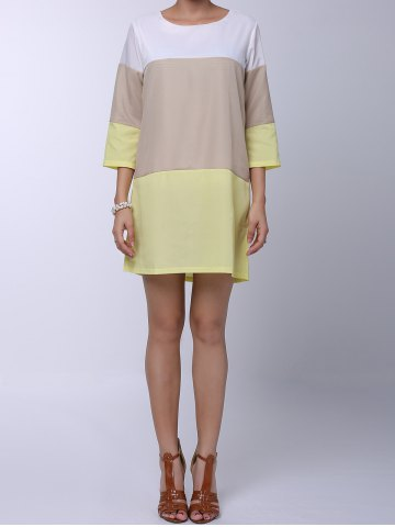 Hot Casual Round Neck 3/4 Sleeve Color Block Loose-Fitting Women's Dress YELLOW L