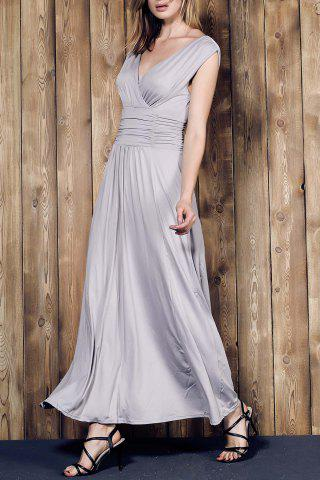 Fashion V Neck Sleeveless Ruched Maxi Prom Dress