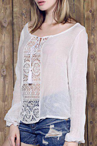 Store Graceful Skew Neck Long Sleeve Loose-Fitting White Lace Spliced Blouse For Women WHITE S