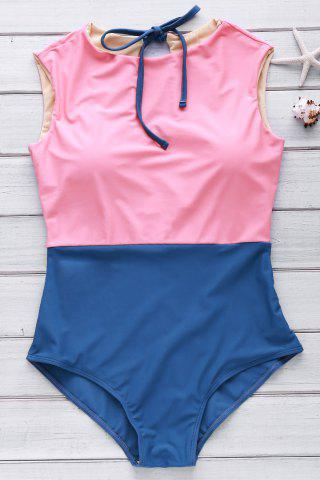 Online Cute High Neck Color Block Swimsuit WATERMELON RED M