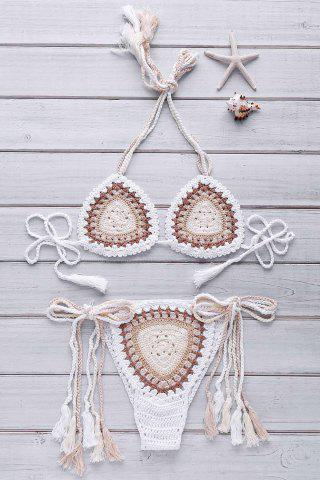 Ethnic Style Halter Neck Backless Colorful Crochet Bikini Set For Women - OFF WHITE ONE SIZE(FIT SIZE XS TO M)
