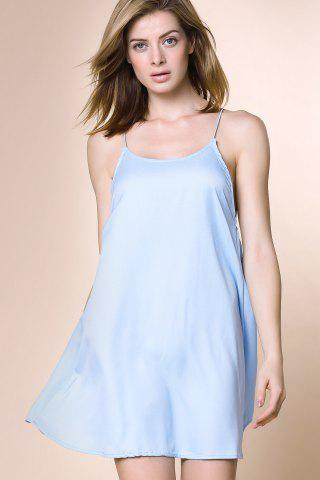 Discount Charming Strappy Cross Back Dress For Women - S LIGHT BLUE Mobile