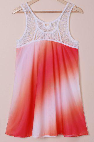 Affordable Print Openwork Sleeveless Lace Splicing Bohemia Dress - S AS THE PICTURE Mobile