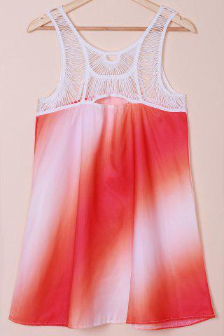 Print Openwork Sleeveless Lace Splicing Bohemia Dress - As The Picture - Xl