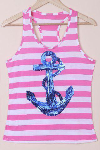 Unique Casual Scoop Neck Striped Sequined Anchor Tank Top For Women