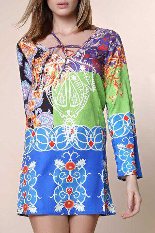 Sexy Plunging Neck Long Sleeve Printed Chiffon Dress For Women - Colormix - Xl