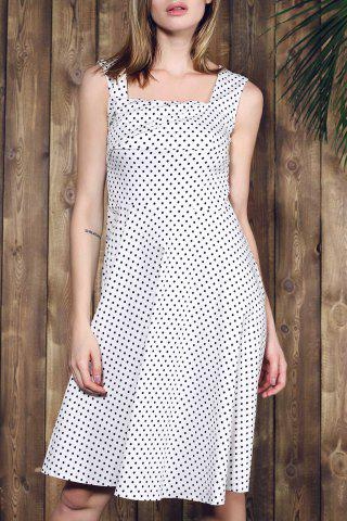 Outfits Retro Style Square Neck Sleeveless Polka Dot Dress For Women