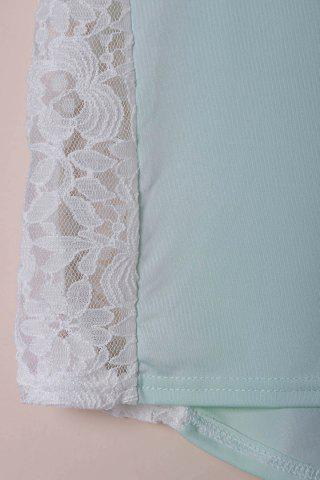 New Stylish Scoop Neck Lace Spliced Half Sleeve T-Shirt For Women - M LIGHT BLUE Mobile
