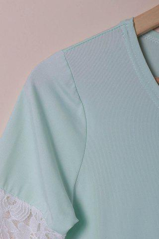 Latest Stylish Scoop Neck Lace Spliced Half Sleeve T-Shirt For Women - M LIGHT BLUE Mobile
