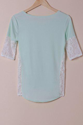 Latest Stylish Scoop Neck Lace Spliced Half Sleeve T-Shirt For Women - L LIGHT BLUE Mobile