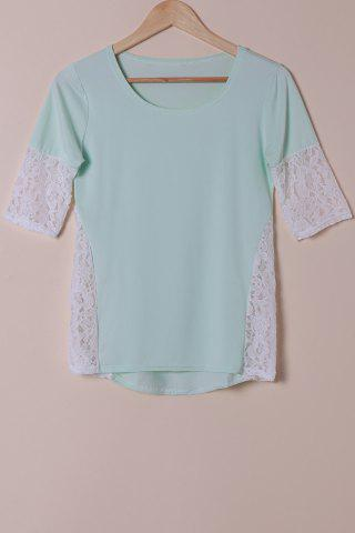 Online Stylish Scoop Neck Lace Spliced Half Sleeve T-Shirt For Women - L LIGHT BLUE Mobile