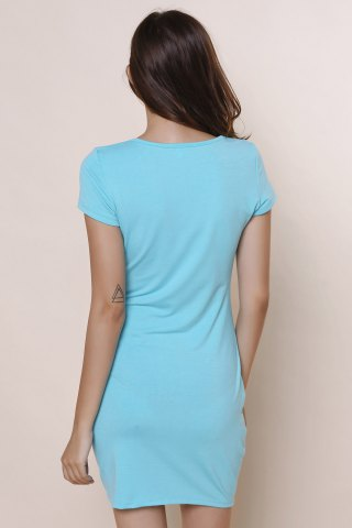Outfits Stylish Short Sleeve U-Neck Solid Color Women's Bodycon Dress - S BLUE Mobile