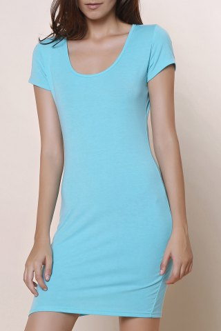 Discount Stylish Short Sleeve U-Neck Solid Color Women's Bodycon Dress - XL BLUE Mobile