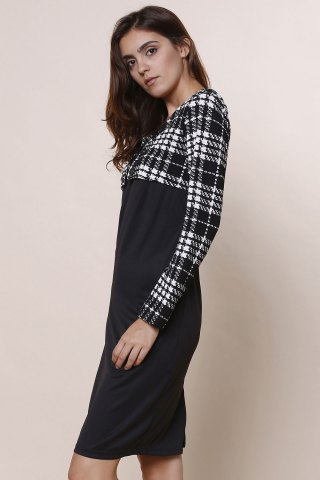 Chic Elegant Round Collar Plaid Splicing Long Sleeve Dress For Women - L BLACK Mobile
