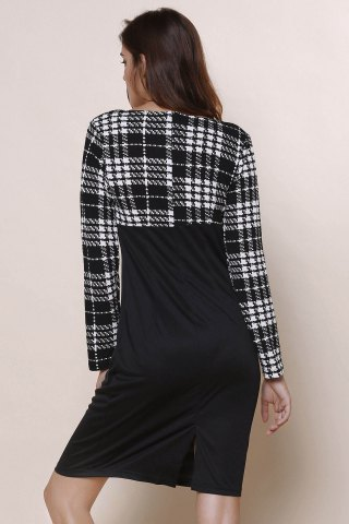 Trendy Elegant Round Collar Plaid Splicing Long Sleeve Dress For Women - L BLACK Mobile