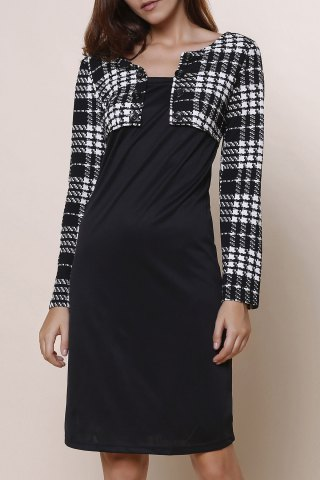 Cheap Elegant Round Collar Plaid Splicing Long Sleeve Dress For Women BLACK L