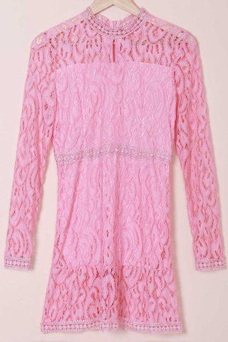 Discount Hollow Out Lace Long Sleeve Dress PINK S