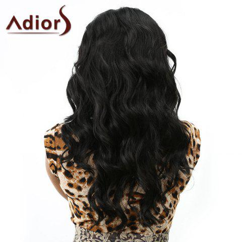 Trendy Charming Long Centre Parting Synthetic Vogue Shaggy Wavy Black Capless Wig For Women - BLACK  Mobile