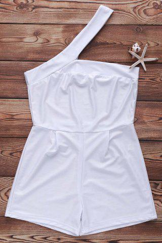 Sale Sexy One-Shoulder Cut Out White Romper For Women