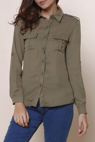 Shops Simple Polo Collar Solid Color Long Sleeve Blouse For Women ARMY GREEN S