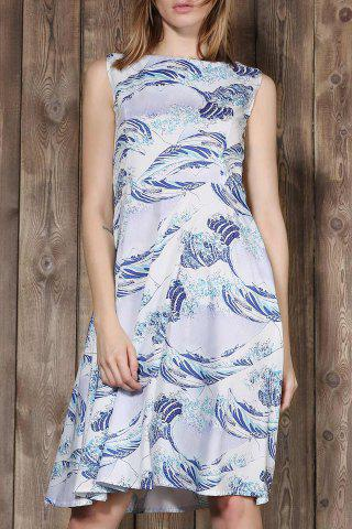 Hot Elegant Sleeveless Sea Wave Printed Ball Gown Dress For Women