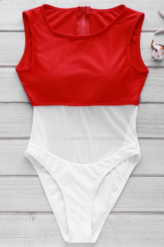 Discount Sexy Round Neck Sleeveless Color Block See-Through Swimwear For Women RED WITH WHITE M