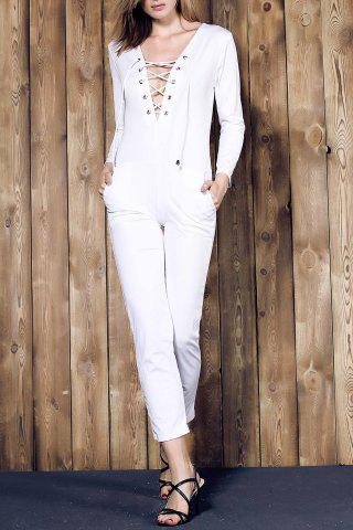 Best Long Sleeve Lace-Up Deep V Jumpsuit WHITE M