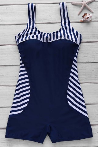Trendy Active Style U Neck Striped Backless One-Piece Swimsuit For Women PURPLISH BLUE M