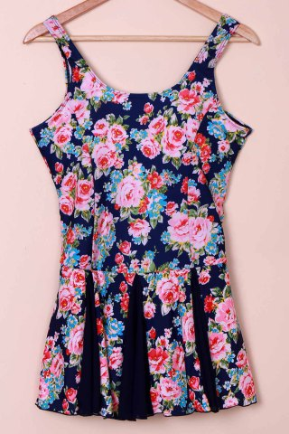 Outfit Sweet Scoop Neck Tiny Floral Print Swimsuit For Women