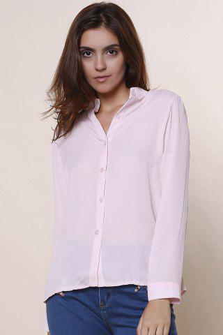 Latest Plain Long Sleeves Blouse PINK S