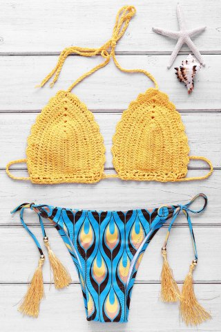 Outfits Refreshing Halter Feather Printed Crochet Bikini Set For Women YELLOW S