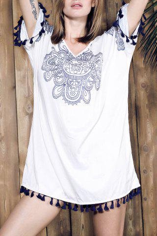 Unique Ethnic Style V Neck Fringed Printed Shift Dress WHITE ONE SIZE(FIT SIZE XS TO M)