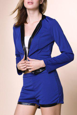 Online Stylish Stand-Up Collar Long Sleeve Spliced Blazer + Solid Color Shorts Women's Twinset - L BLUE Mobile