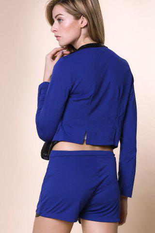 New Stylish Stand-Up Collar Long Sleeve Spliced Blazer + Solid Color Shorts Women's Twinset - L BLUE Mobile
