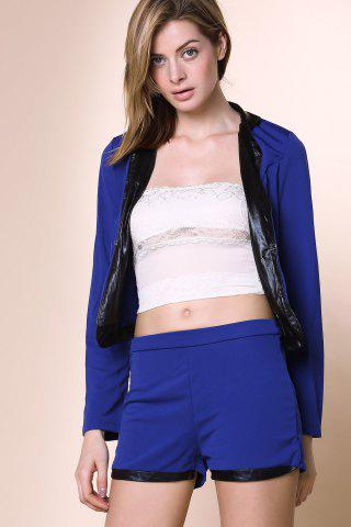 Latest Stylish Stand-Up Collar Long Sleeve Spliced Blazer + Solid Color Shorts Women's Twinset - L BLUE Mobile