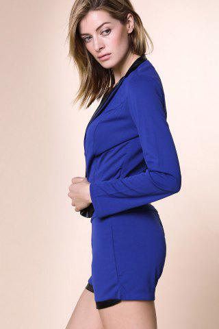 Outfits Stylish Stand-Up Collar Long Sleeve Spliced Blazer + Solid Color Shorts Women's Twinset - L BLUE Mobile