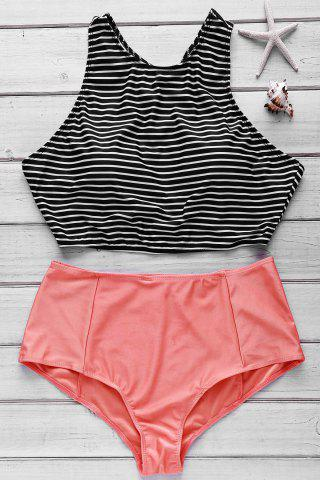 Online Striped High Waist High Neck Underwire Tankini Bathing Suit