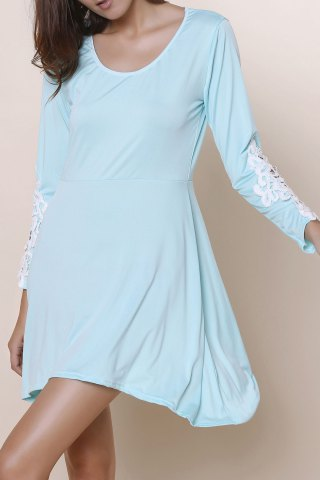 Online Long Sleeve Hollow Out Asymmetrical Casual Dress Fall LIGHT BLUE S