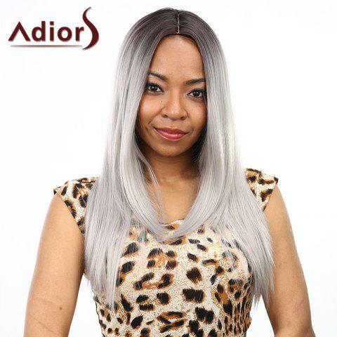 Two-Tone Ombre Middle Part Synthetic Stylish Silky Straight Long Wig For Women - BLACK/GREY
